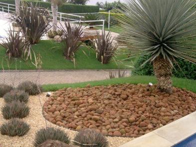Jardim externo com pedras